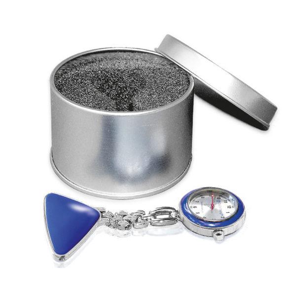 Verpleeghorloge blauw/zilver in metalen box