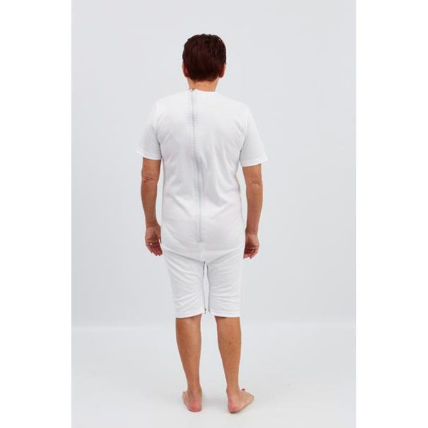 Body interlock wit, korte pijpen, korte mouwen, rits op de rug en tussen de benen