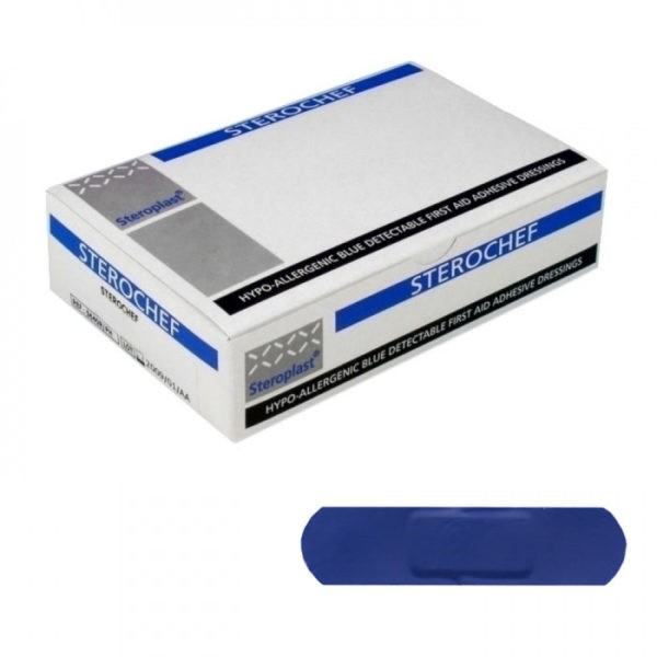 Blauwe detecteerbare pleister - 7,5cm x 2cm - 100 stuks