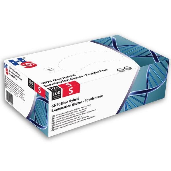 Handschoenen - blauw hybride - nitril/vinyl - poedervrij - GN70 - Small - 100 stuks