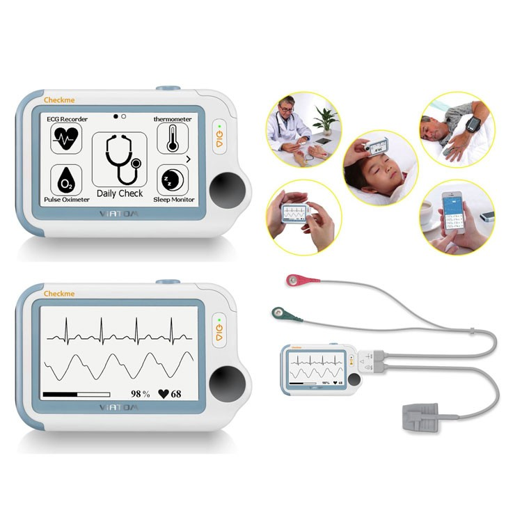 Check Me Pro Health monitor : ECG - SpO2 - Temperatuur - Slaap monitor -Systolische bloeddruk - Stappenteller met Bluetooth connectie + windows software