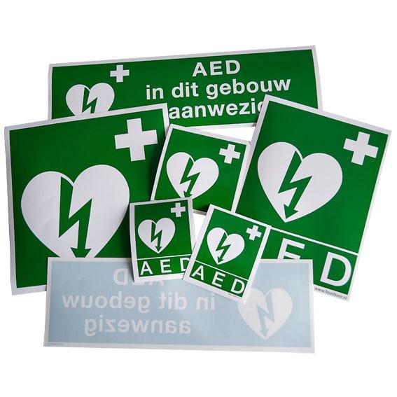 Set met verschillende AED Stickers
