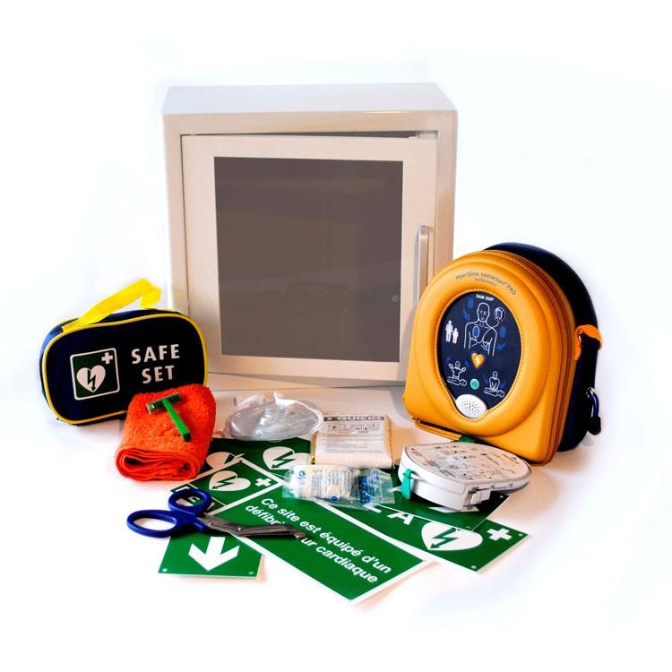 AED Samaritan PAD 500P - volautomaat - met reanimatieondersteuning - inclusief draagtas + GRATIS METALEN BINNENKAST MET ALARM + STICKERSET (5 stickers) + REANIMATIEKIT