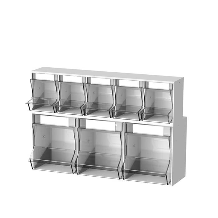 PicBox dispenser met 3 vakken onderaan + 5 vakken bovenaan
