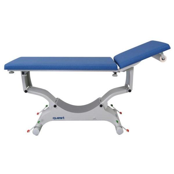 Quest onderzoekstafel - ligvlak 65 cm breedte - elektrisch hoog/laag (manuele bediening) + hellende functie + rollend onderstel + elektrische rugverstelling