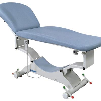 Quest Lux onderzoekstafel - gevormd ligvlak 73cm - elektrisch hoog/laag (manuele bediening) + hellende functie + rollend onderstel + elektrische rugverstelling