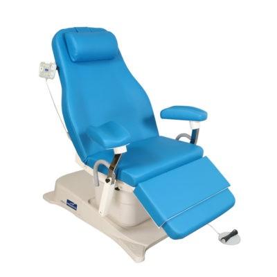 EMotio® PLUS onderzoekstafel - hoog/laag - met arm/beensteunen + tilt positie + hoofdsteun + voetpedaal en 4 geprogrameerde posities + wieltjes