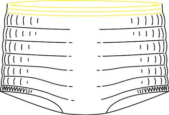 Netbroekjes GanmillFix Small - gele boord