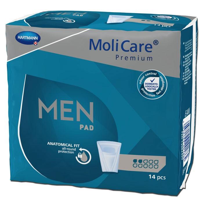 Molicare Premium MEN Pads - 2 druppels - Grijs - 12 x 14 stuks