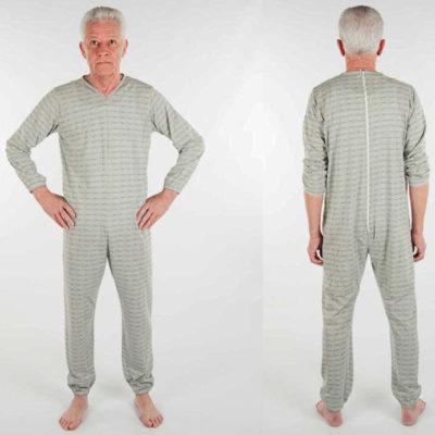 Pyjama met lange pijpen, lange mouwen, ritssluiting op de rug en rits tussen de benen, V-hals, zitgedeelte extra verstevigd - Grijs